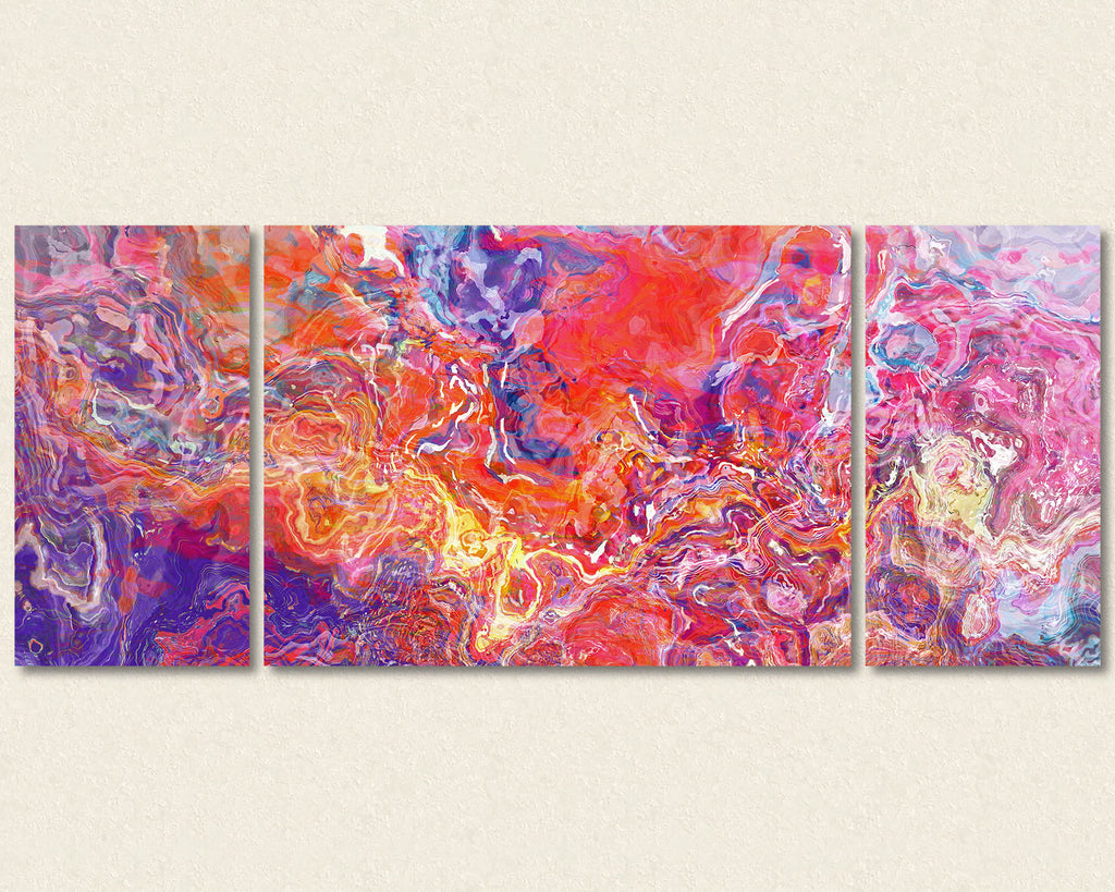 Abstract art triptych canvas print in Orange, Hot Pink, Blue, Purple