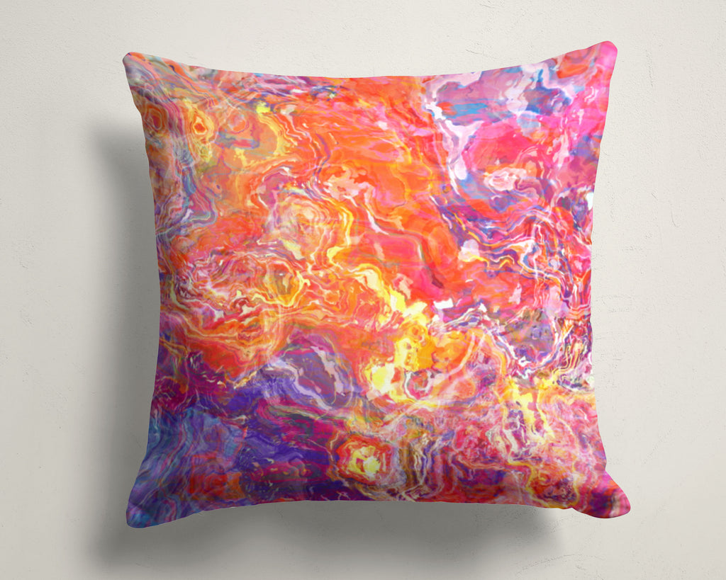 Abstract art pillow covers, 16x16 and 18x18 inches, Orange, Purple