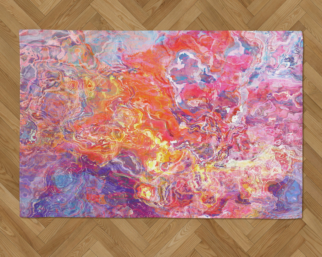 Area Rug with Abstract Art, 2x3 to 5x7, in Orange, Hot Pink, Purple