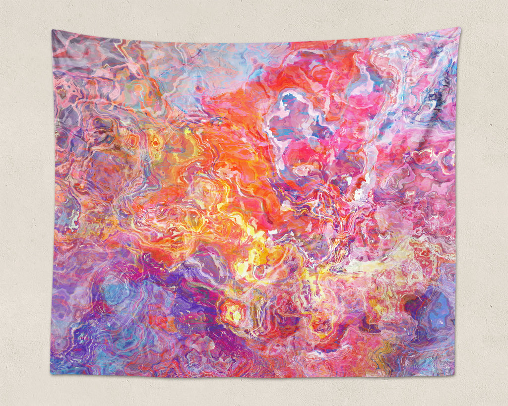 Abstract Art large modern wall hanging in Orange, Hot Pink, Purple