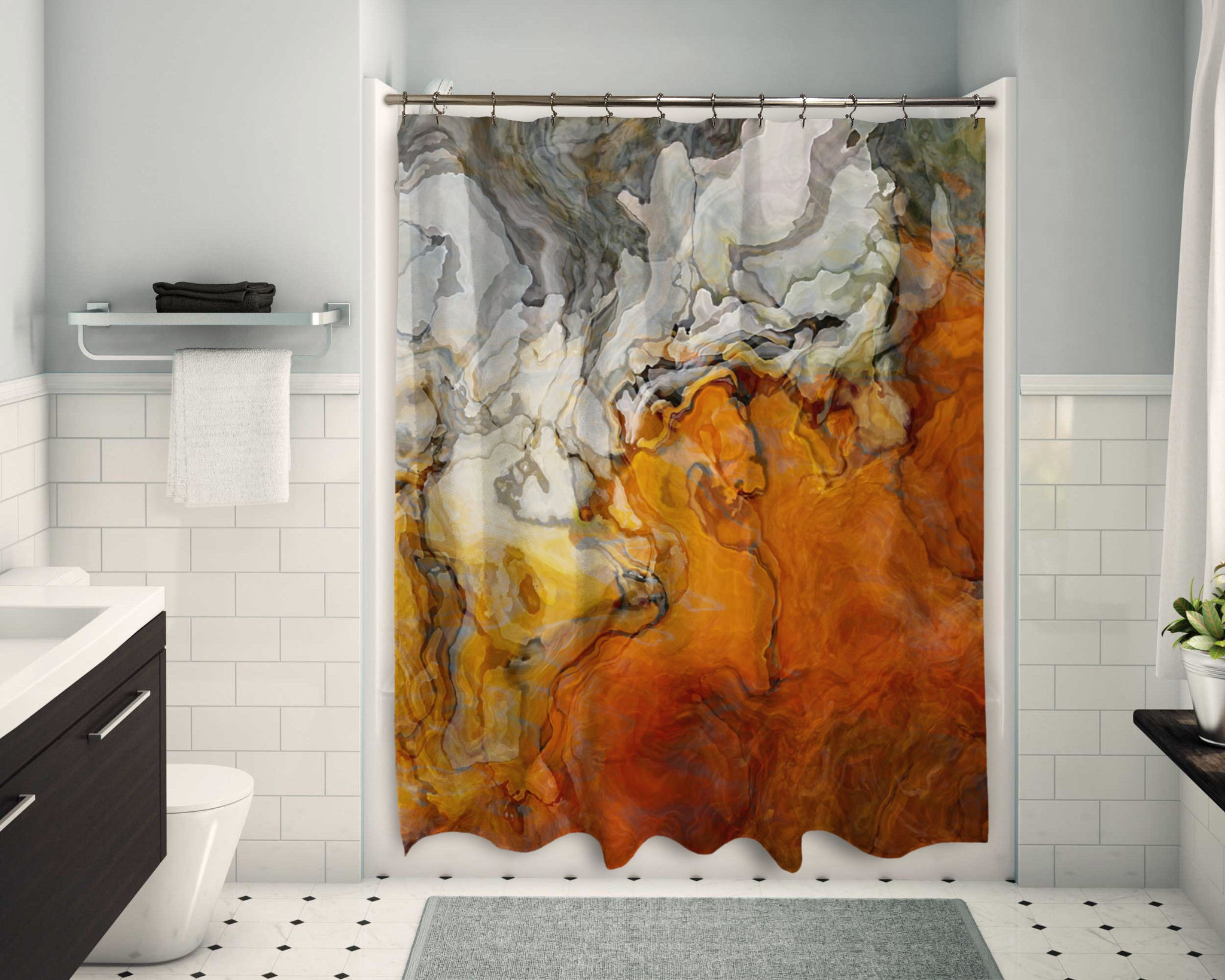 Abstract Shower Curtain Orange White And Gray Contemporary Bathroom Abstract Art Home