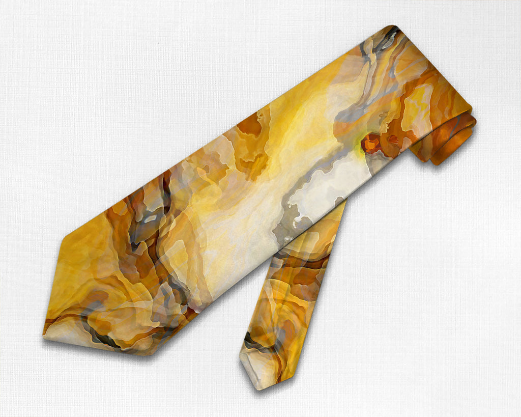 Abstract art men's tie in orange, white, and gray