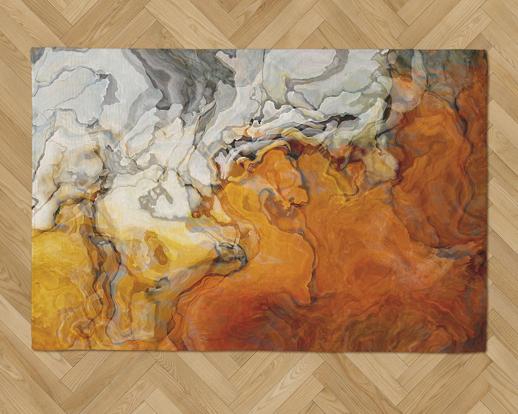 Area Rug with Abstract Art, 2x3 to 5x7, in Orange, White and Gray