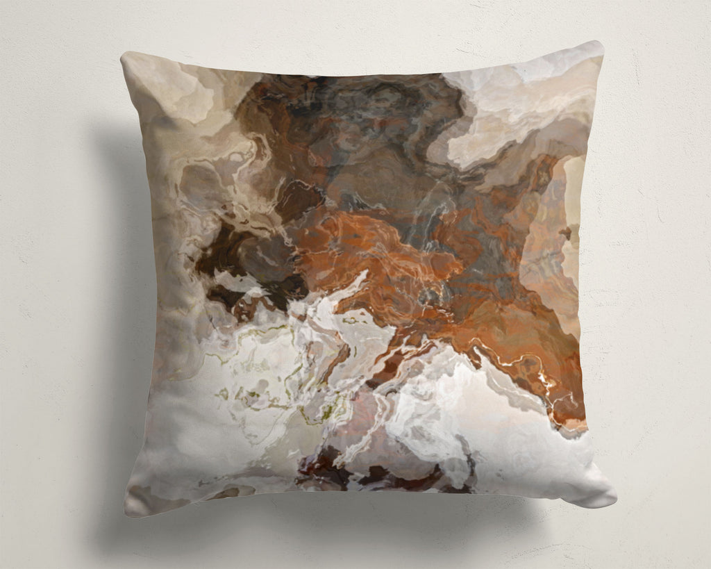 Abstract art pillow covers, 16x16 and 18x18 inches, Brown and Warm Gray