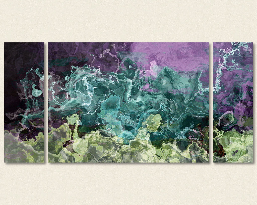 Abstract expressionism triptych canvas print in purple and aqua