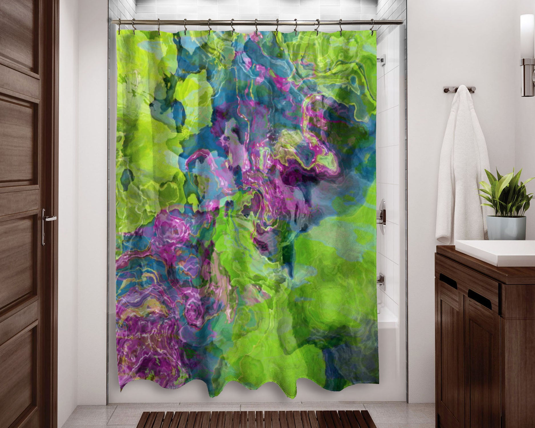 Contemporary Shower Curtain Purple Blue Green Abstract Art Home
