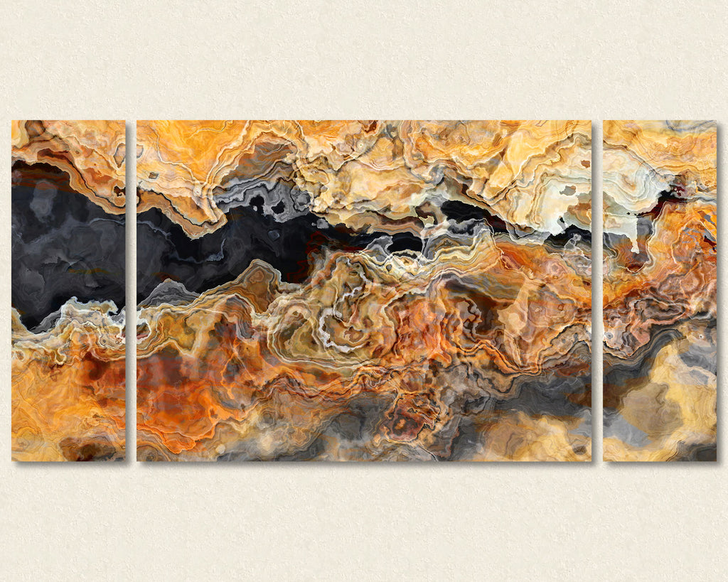 Abstract art triptych canvas print in Black, Orange and Beige