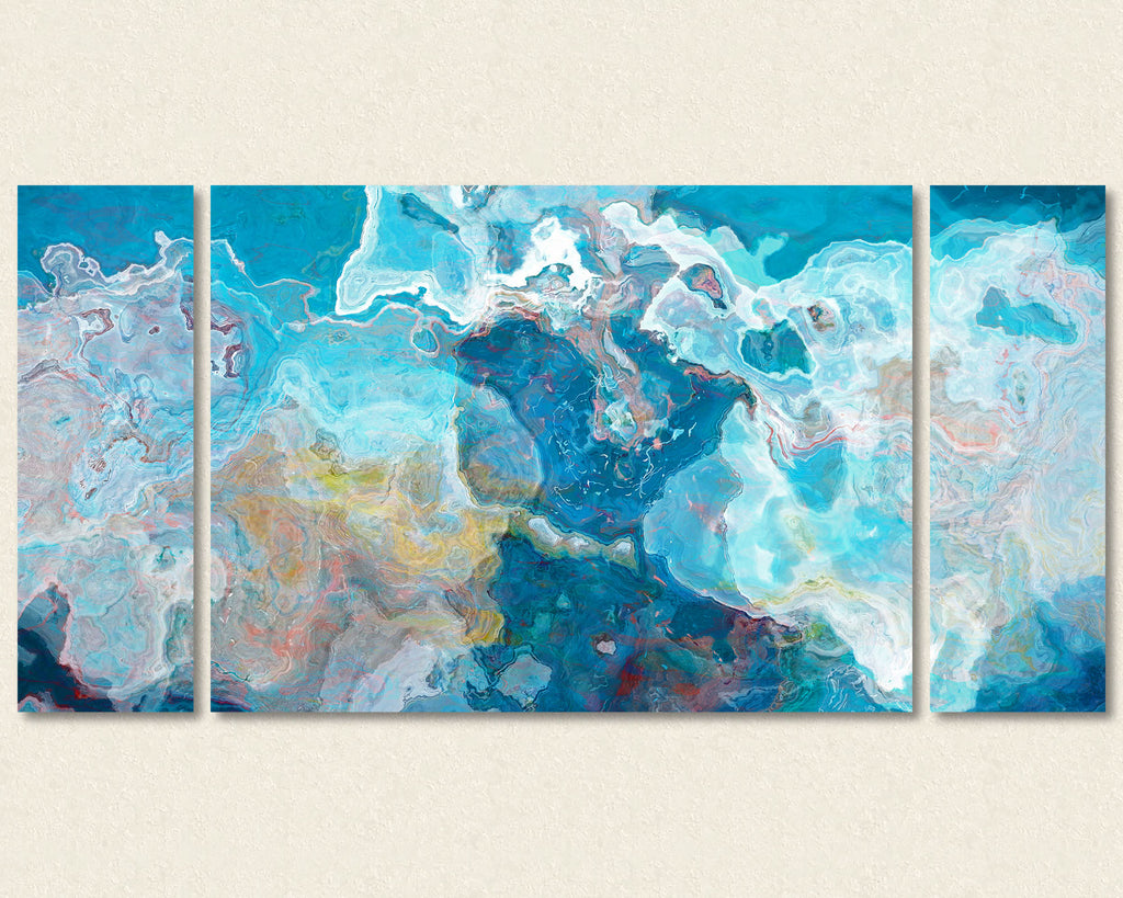Abstract art triptych canvas print in blue and white