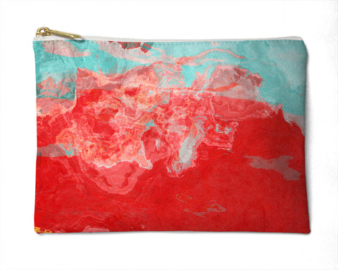 Makeup bag, pencil case, Cosmetic bag with abstract art, in red, blue and yellow, Bon Temps
