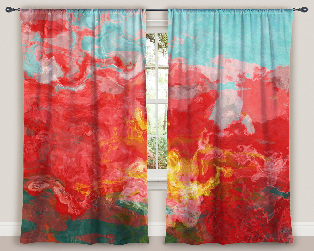 "Abstract art window curtains 50""x84"" panels in Red, Blue, Yellow"
