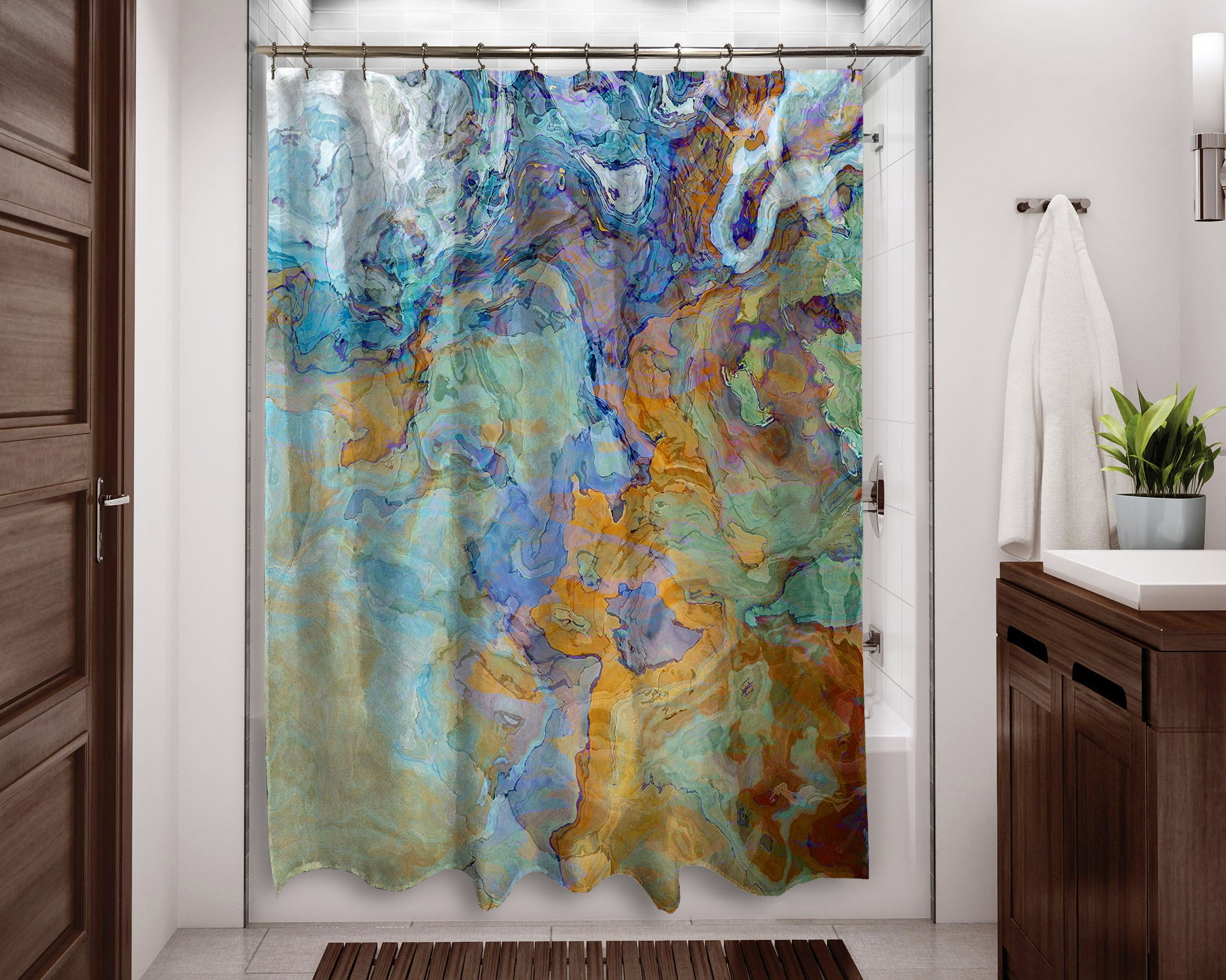 Contemporary Shower Curtain Orange Blue Green Brown Abstract Art Home