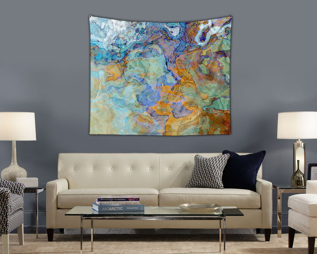 Abstract Art contemporary wall hanging in dark orange, blue and aqua