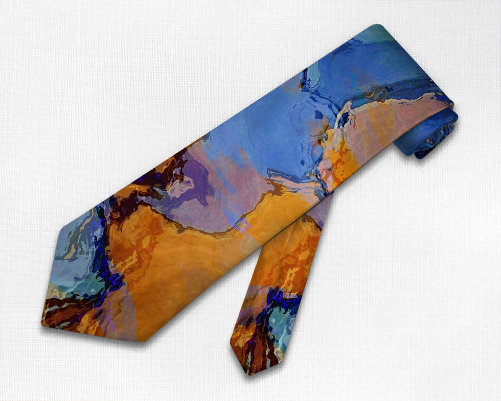 Abstract art men's tie in blue, orange and brown