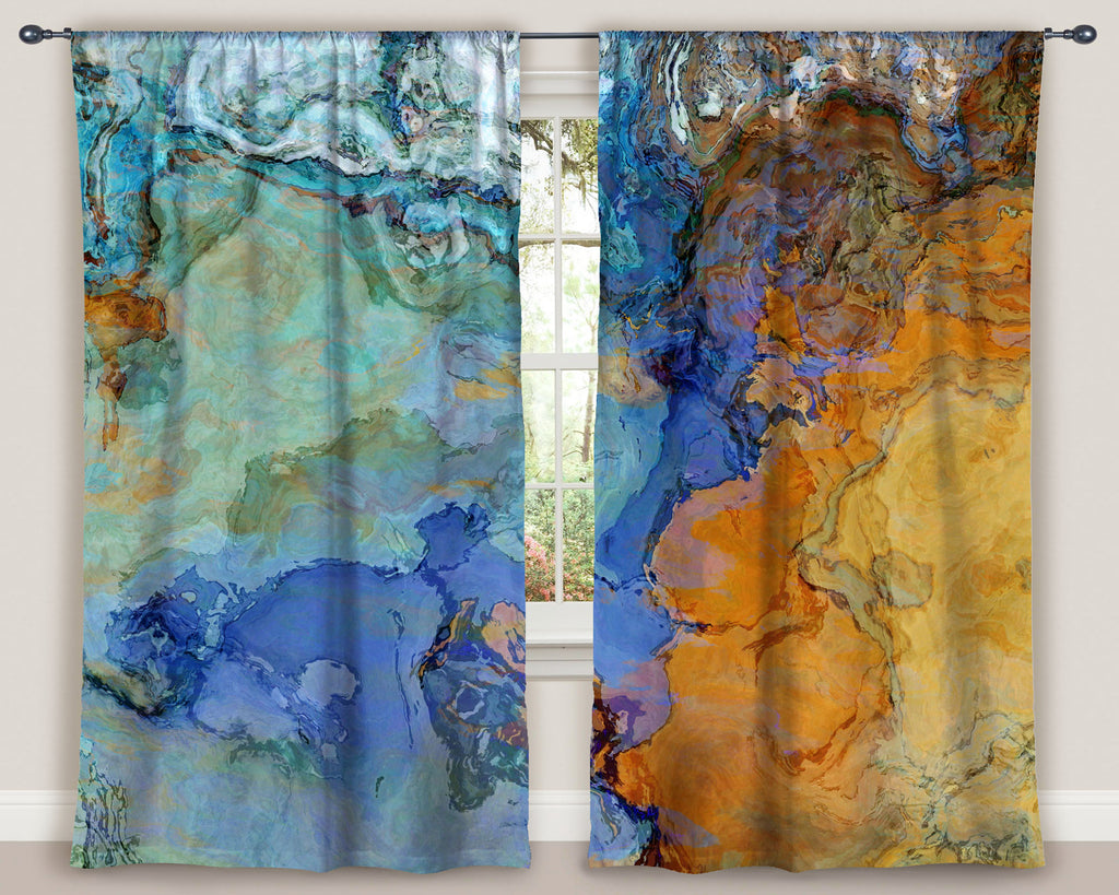 Housewares, window treatment, window curtain, curtain, rod pocket curtain, living room , bohemian curtain, Drapery , abstract art curtain, blackout curtains, bedroom curtains, curtain , room darkening drape, blue curtains