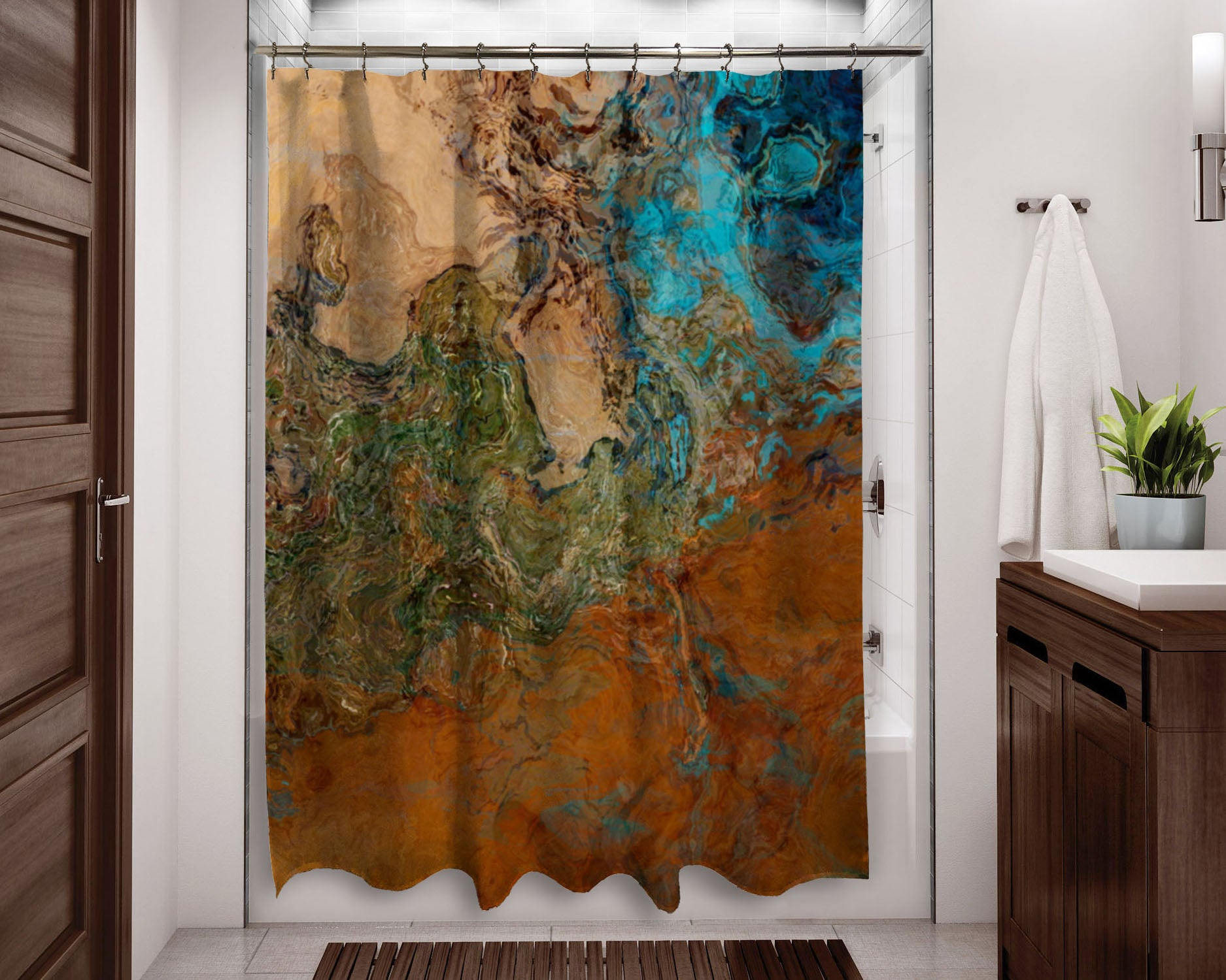 Abstract Art Shower Curtain Southwest Shower Curtain Rust