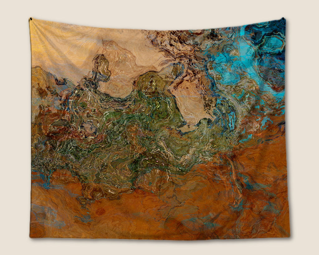 Abstract Art Tapestry, wall hanging in orange, turquoise and copper