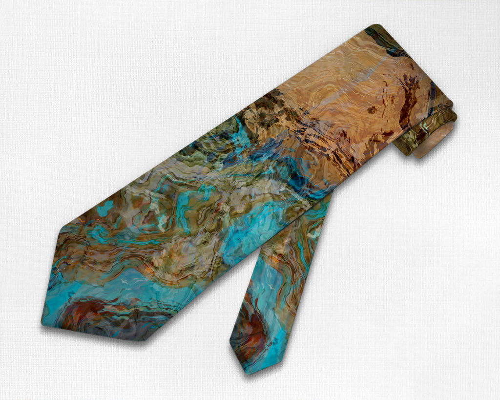 Abstract art men's tie, southwest colors turquoise and brown