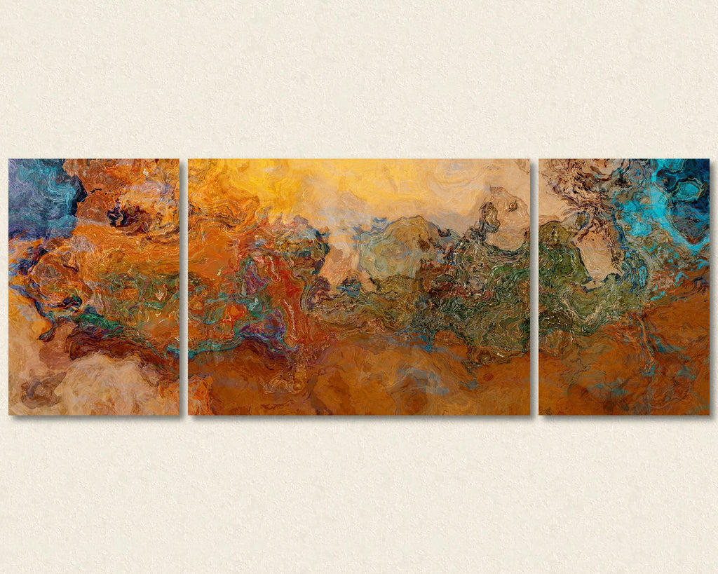 Extra Large triptych abstract art canvas print Southwest Colors