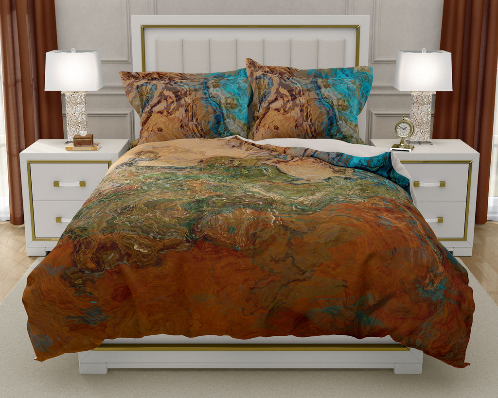 Duvet Cover with abstract art, king or queen in southwest colors