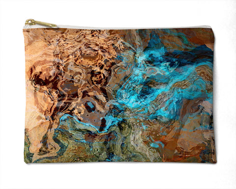 Cosmetic bag with abstract art, in southwest colors, Canyon Sunset