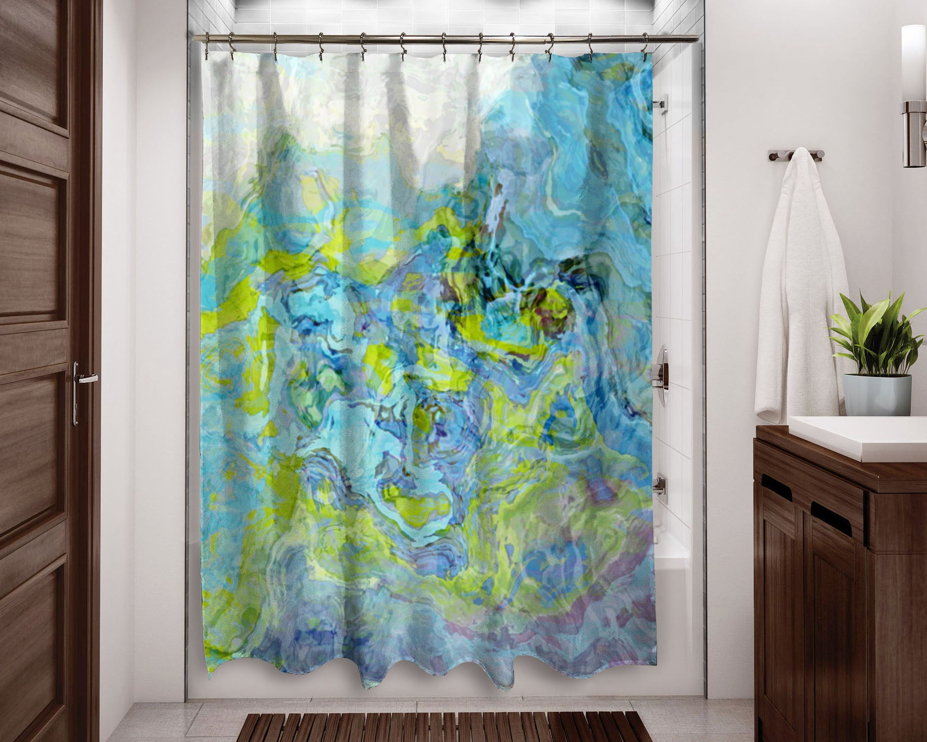 Abstract Shower Curtain Green Aqua Blue White Dusty Lilac