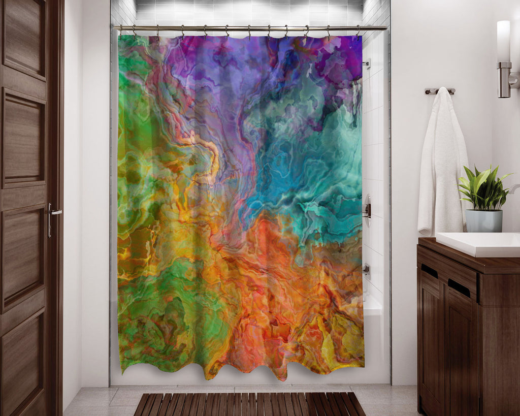 Abstract shower curtain rainbow colors contemporary bathroom