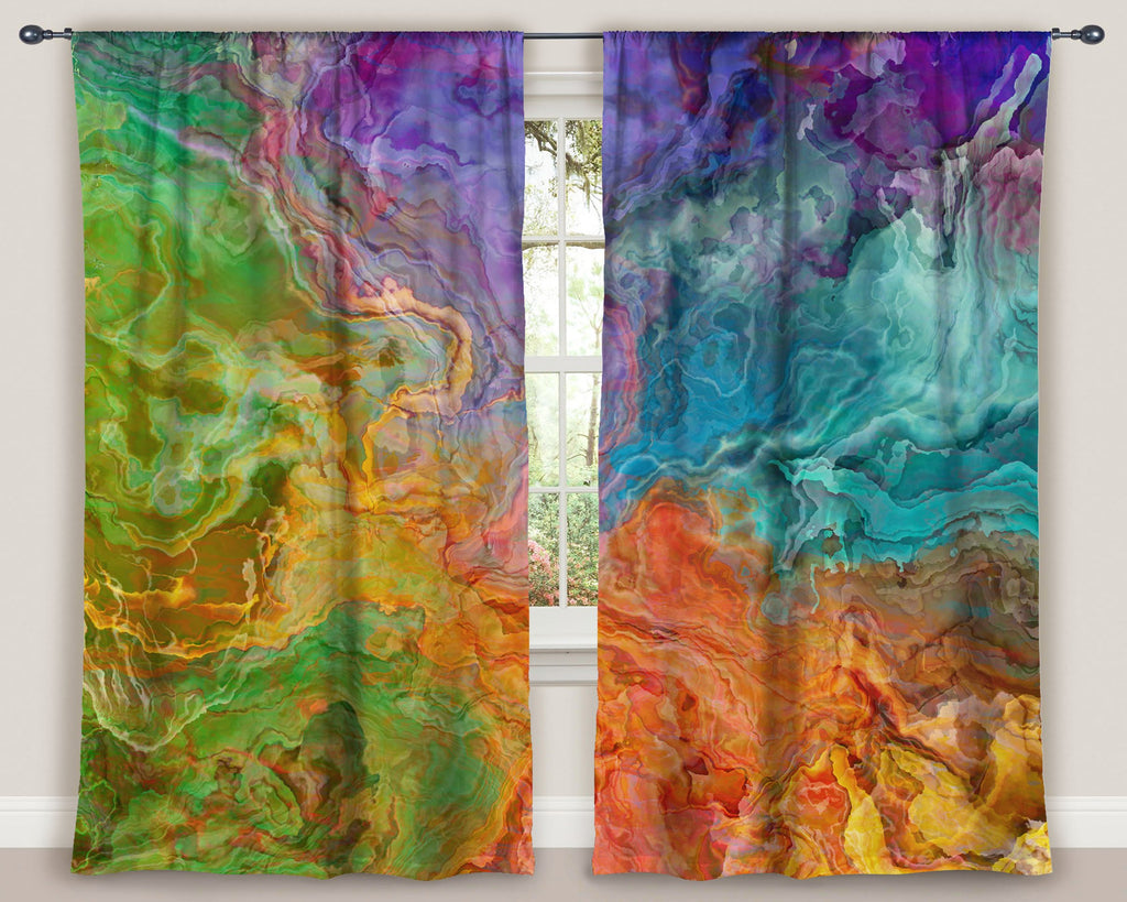 "Abstract art window curtains 50""x84"" panels in rainbow colors"