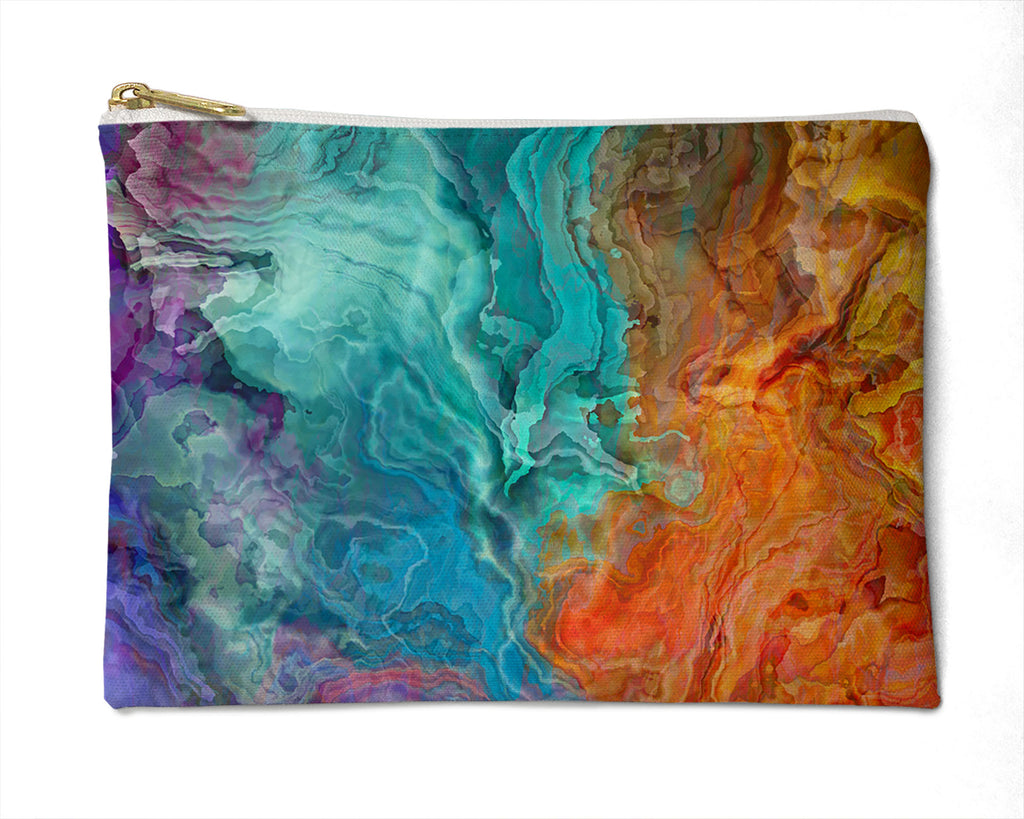 Makeup Bag, Pencil Case, Cosmetic Bag Abstract Art, rainbow colors