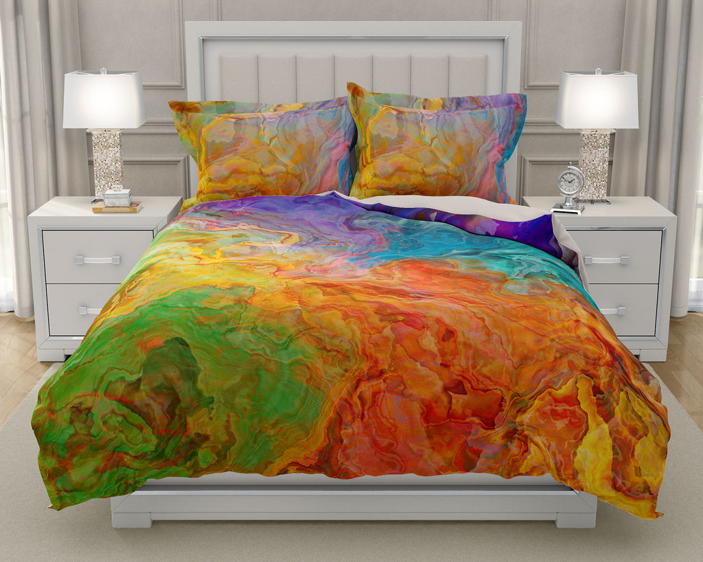 Duvet Cover with abstract art, king or queen rainbow colors