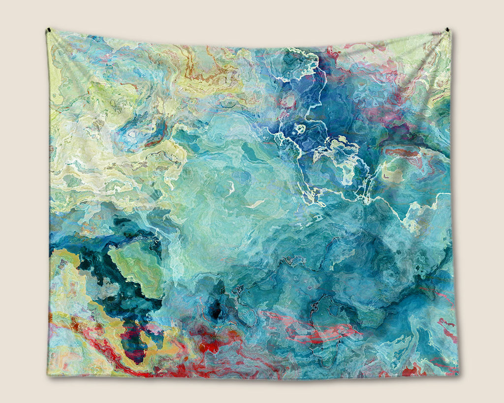 Abstract Art wall hanging in blue green, aqua and cream