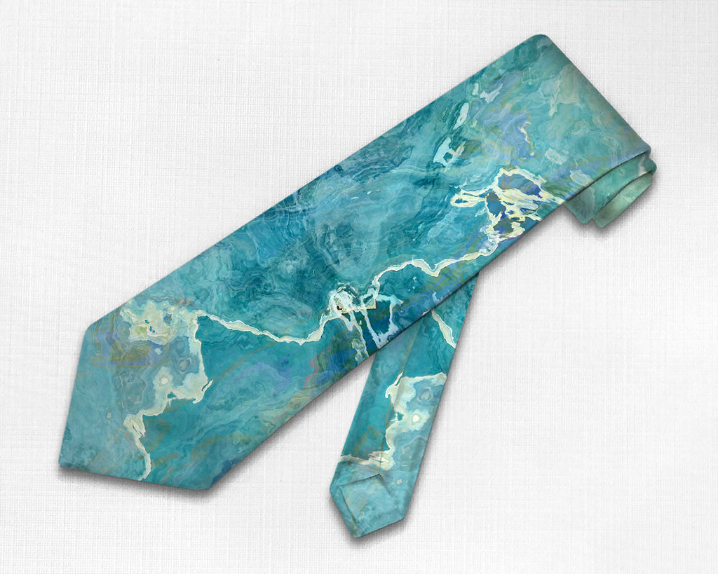 Abstract art men's tie in green and aqua