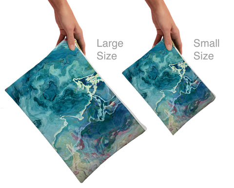 Cosmetic bag with abstract art, in aqua, Cool As a Cucumber