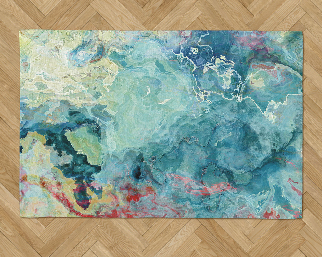 Area Rug with Abstract Art, 2x3 to 5x7, in Aqua, Green and Cream