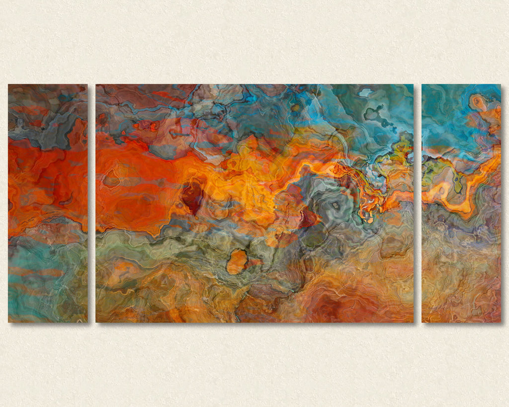 Abstract art triptych canvas print in Orange, Turquoise, Brown, Olive