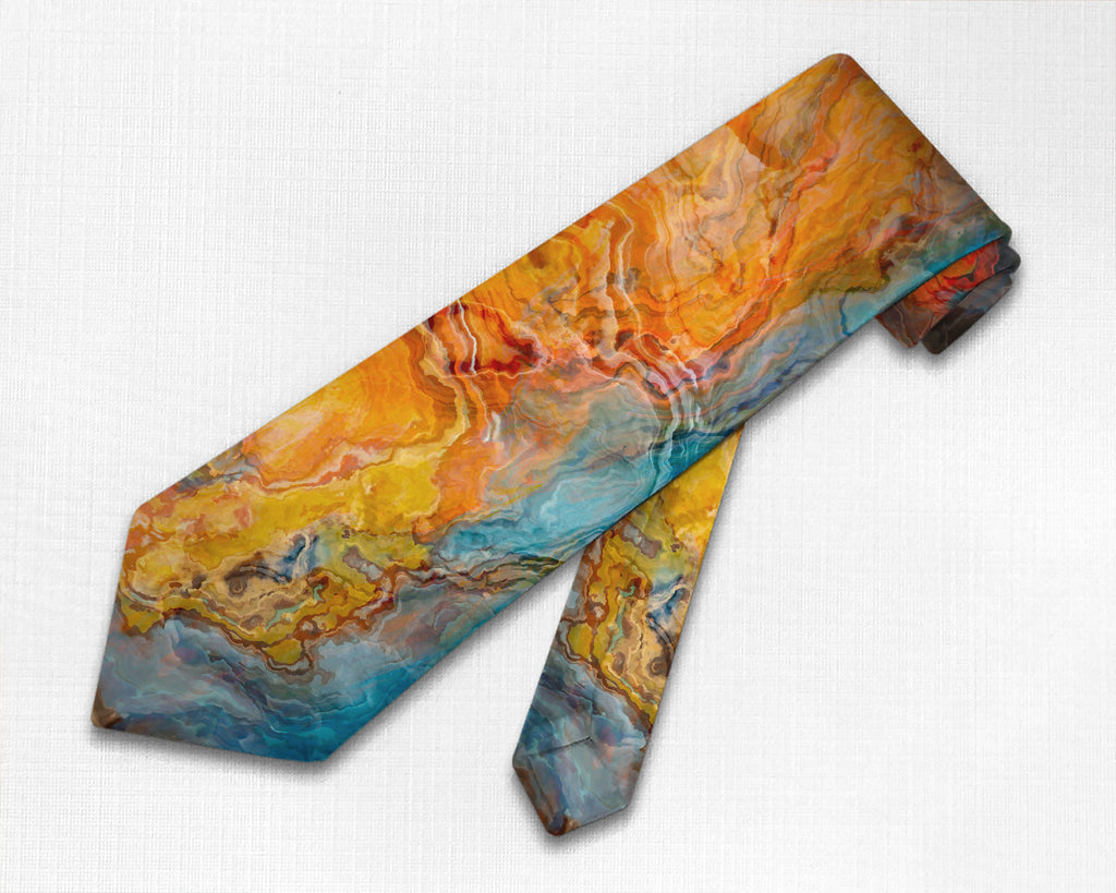 Abstract art men's tie in orange, turquoise, and brown