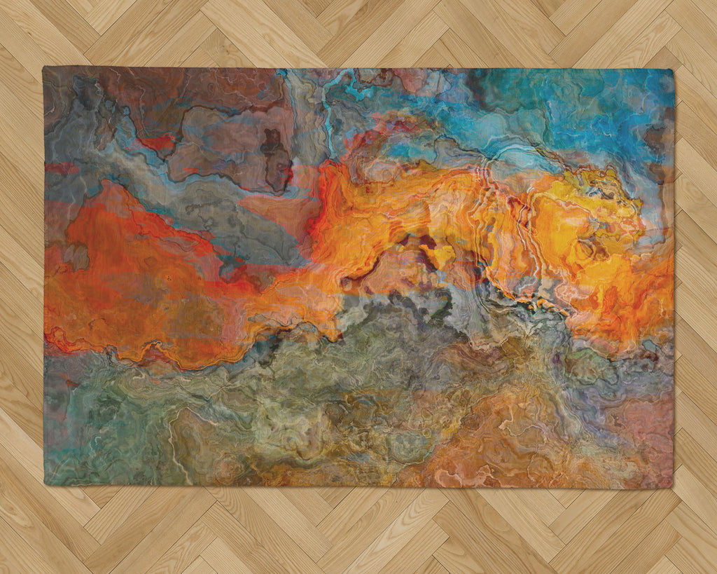 Area Rug with Abstract Art, 2x3 to 5x7, in Orange, Turquoise, and Brown