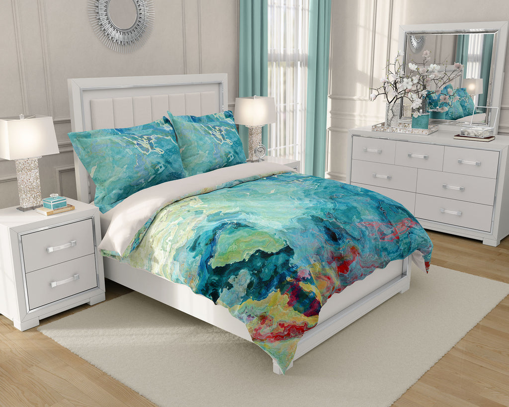 Duvet Cover with abstract art, king or queen Aqua, Blue Green, Cream