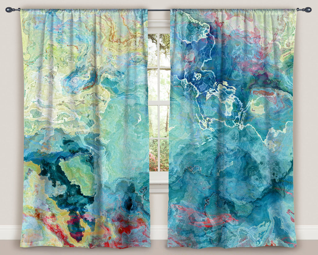 Housewares, window treatment, window curtain, curtain, rod pocket curtain, living room , bohemian curtain, Drapery , abstract art curtain, blackout curtains, bedroom curtains, curtain , room darkening drape, blue drapery