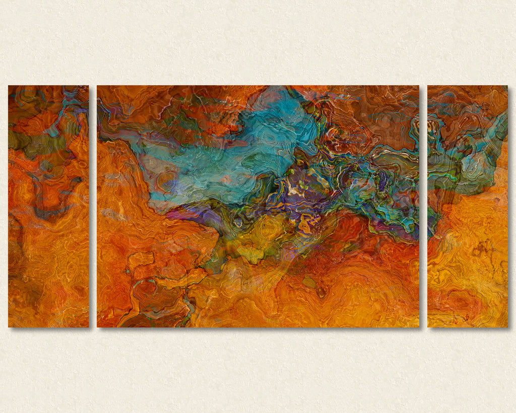 Abstract art triptych canvas print in red-orange and turquoise