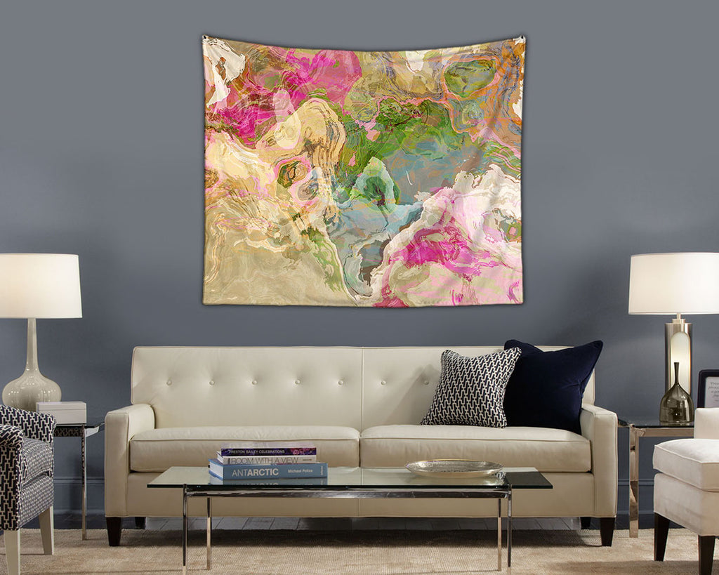 Abstract Art large modern wall hanging in pastel colors