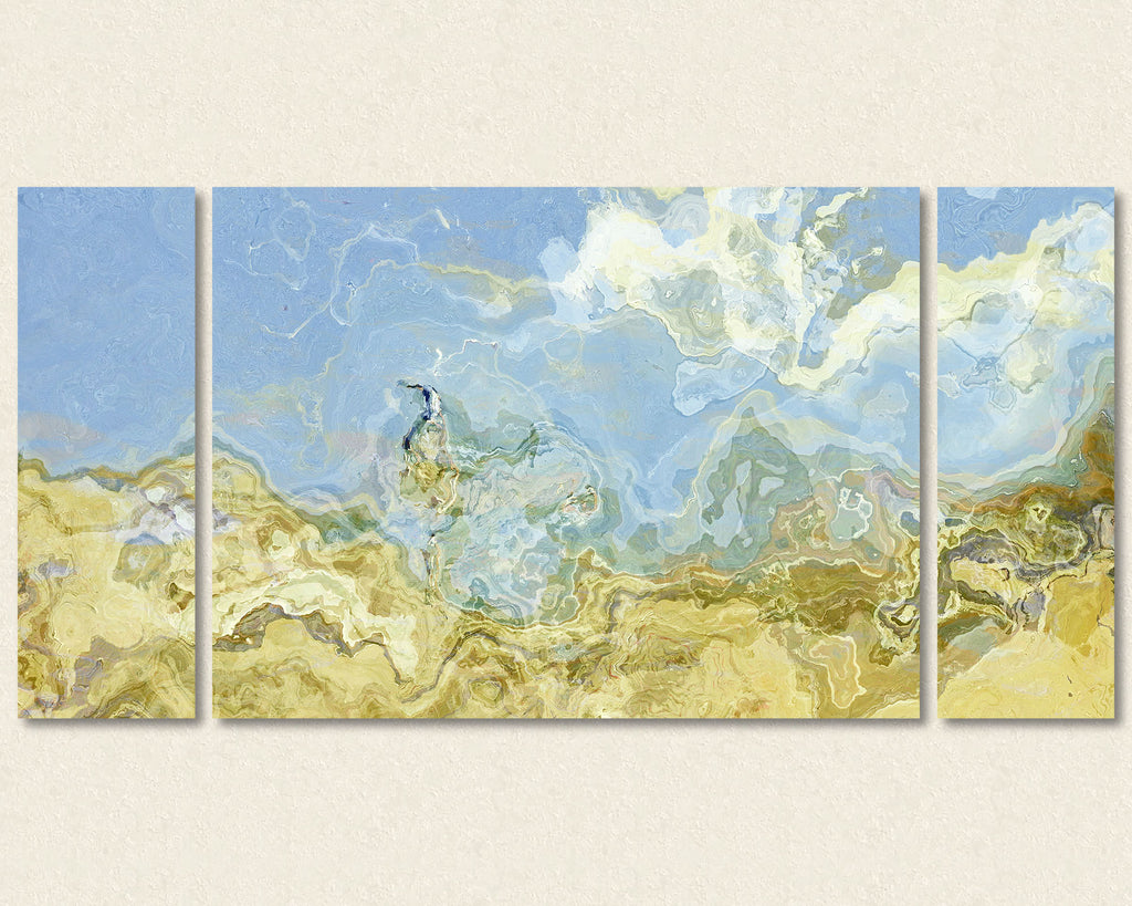 Abstract art triptych canvas print in Blue, Beige and Cream
