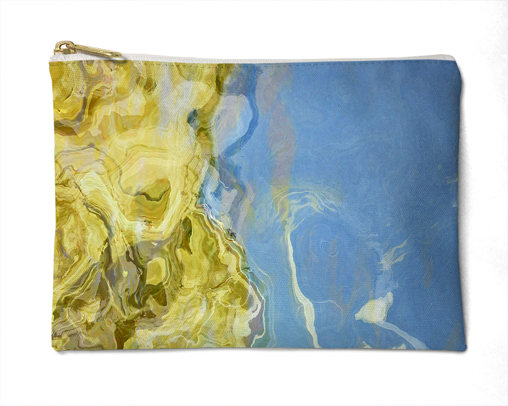 Makeup Bag, Pencil Case, Cosmetic Bag Abstract Art, Blue, Beige, Cream