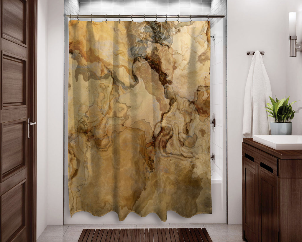 Abstract shower curtain beige, tan and brown contemporary bathroom