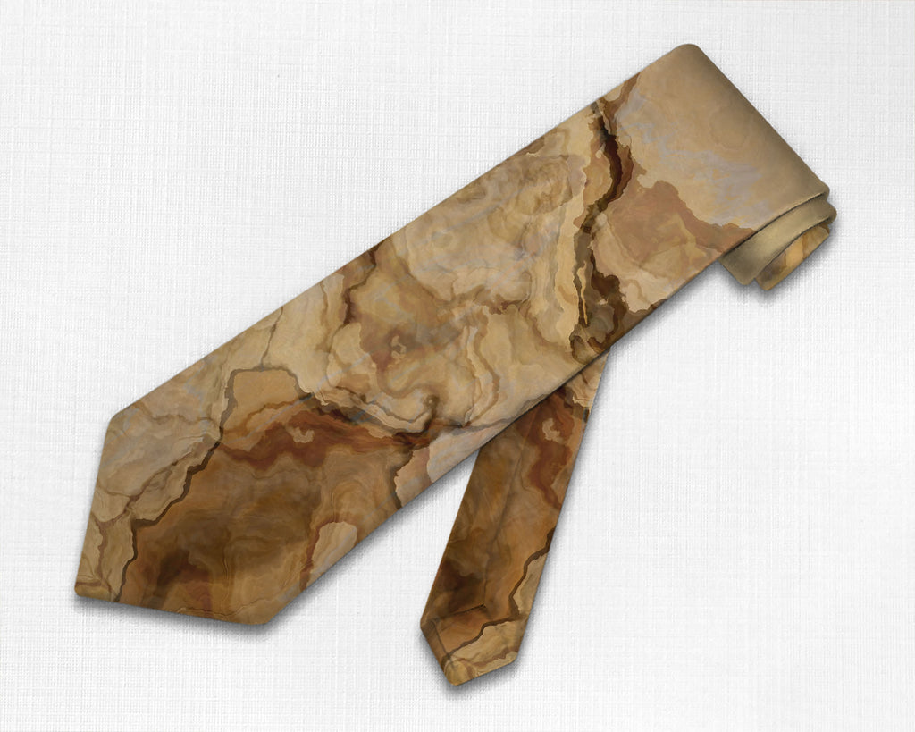 Abstract art men's tie in beige, tan and brown