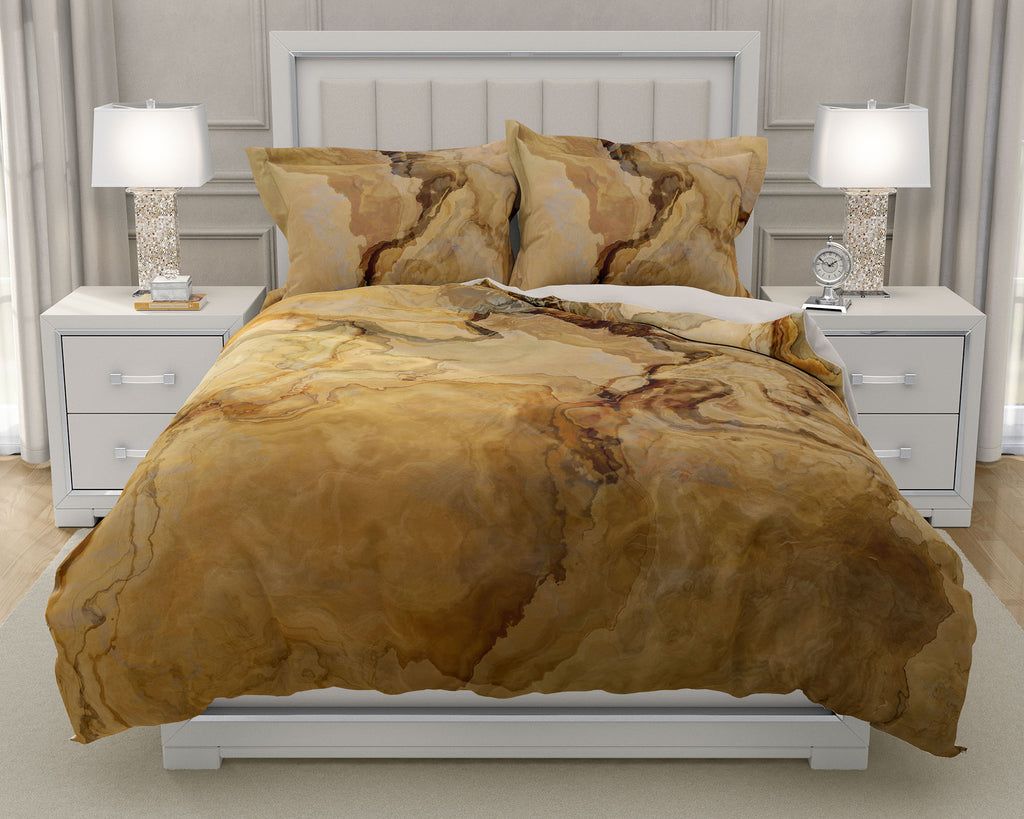 Duvet Cover with abstract art, king or queen in beige, tan and brown
