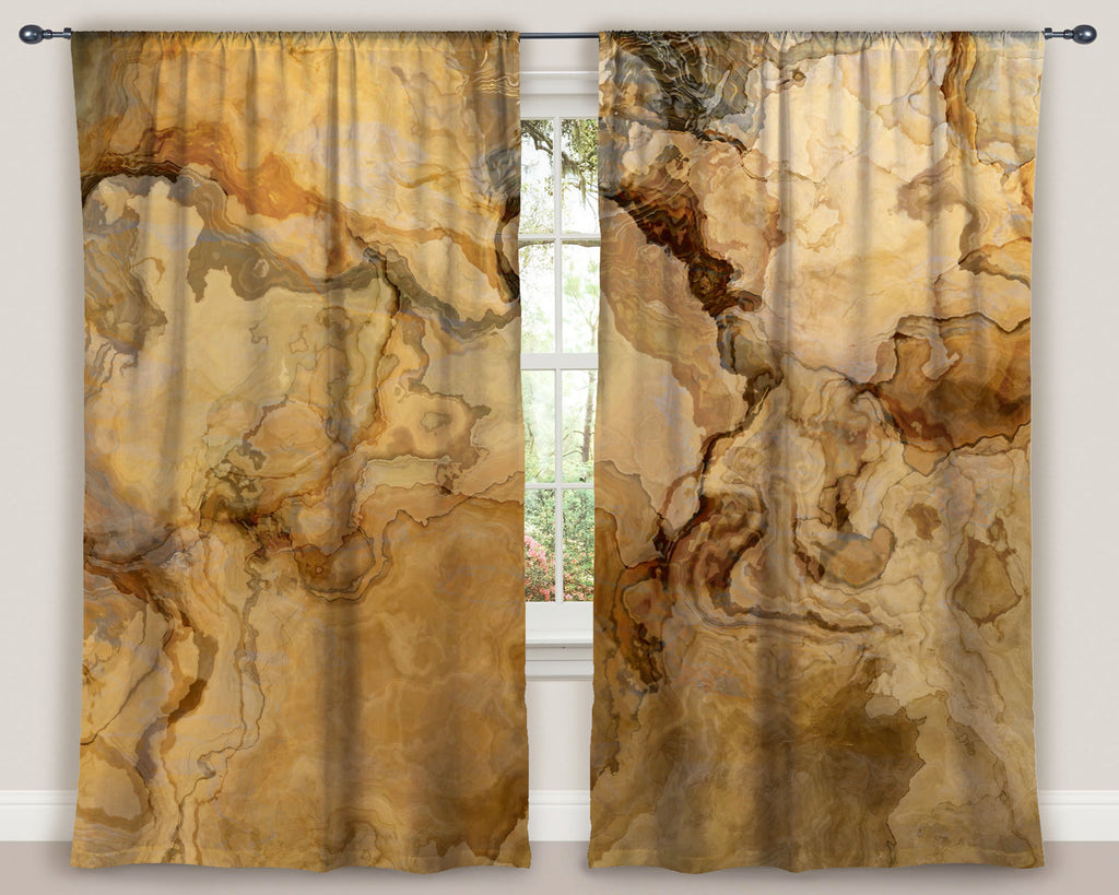 "Abstract art window curtains 50""x84"" panels in beige, tan and brown"