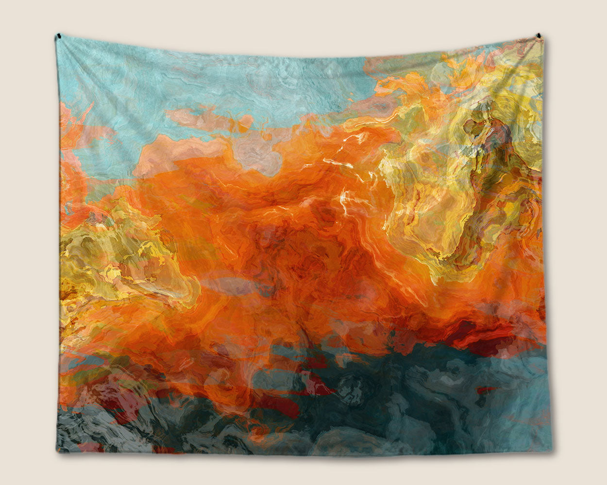 Abstract Art Tapestry Modern Wall Hanging In Orange Yellow