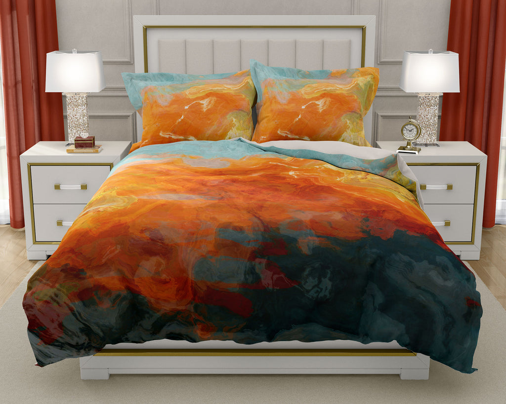 Duvet Cover with abstract art, king or queen in orange, yellow teal