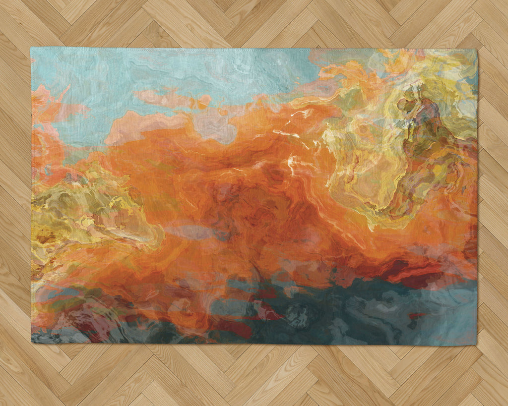 Area Rug with Abstract Art, 2x3 to 5x7, in Orange and Aqua
