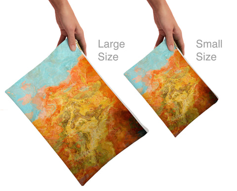 Cosmetic bag with abstract art, in orange and aqua, Electric Illusion